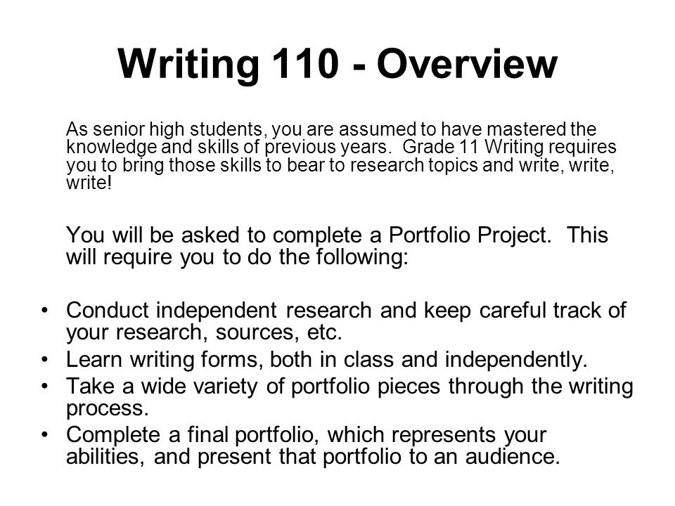 Writing Overview As senior high students, you are assumed to have mastered the knowledge and skills of previous years.