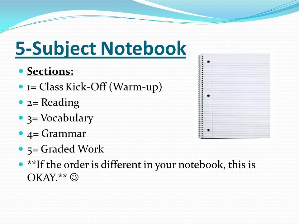 5-Subject Notebook Sections: 1= Class Kick-Off (Warm-up) 2= Reading 3= Vocabulary 4= Grammar 5= Graded Work **If the order is different in your notebo