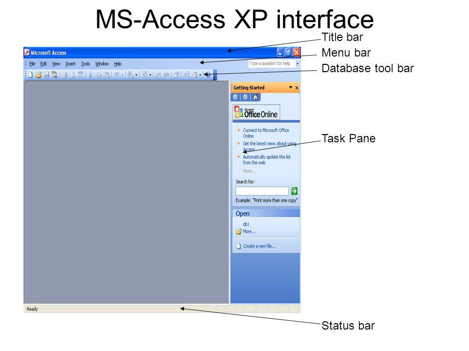 MS-Access XP interface Title bar Menu bar Database tool bar Task Pane Status bar