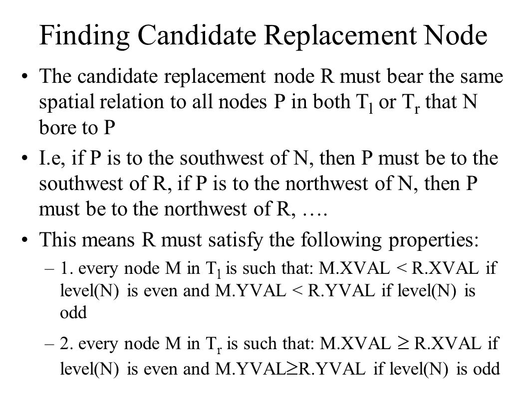 Finding Candidate Replacement Node The candidate replacement node R must bear the same spatial relation to all nodes P in both T l or T r that N bore