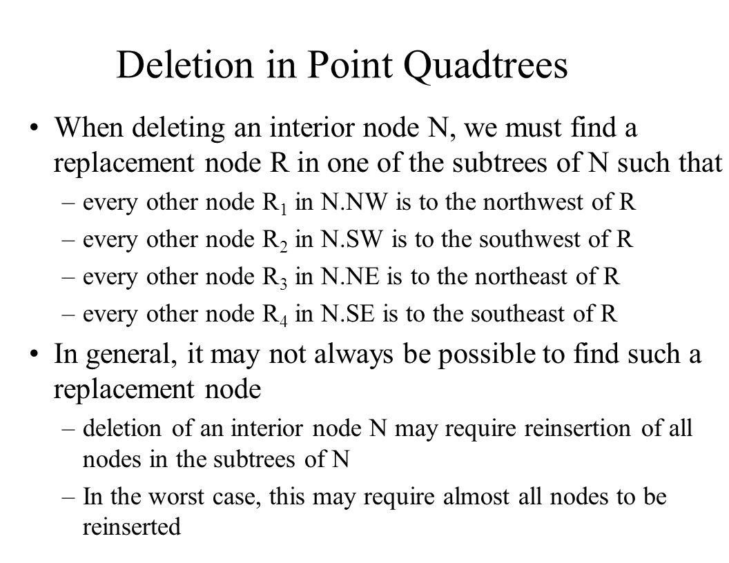 Deletion in Point Quadtrees When deleting an interior node N, we must find a replacement node R in one of the subtrees of N such that –every other nod
