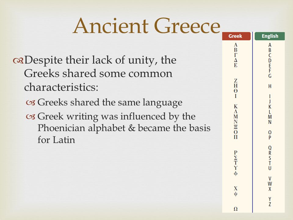 Ancient Greece  Despite their lack of unity, the Greeks shared some common characteristics:  Greeks shared the same language  Greek writing was inf