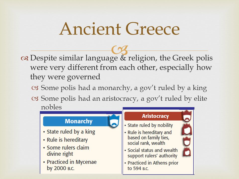   Despite similar language & religion, the Greek polis were very different from each other, especially how they were governed  Some polis had a mon