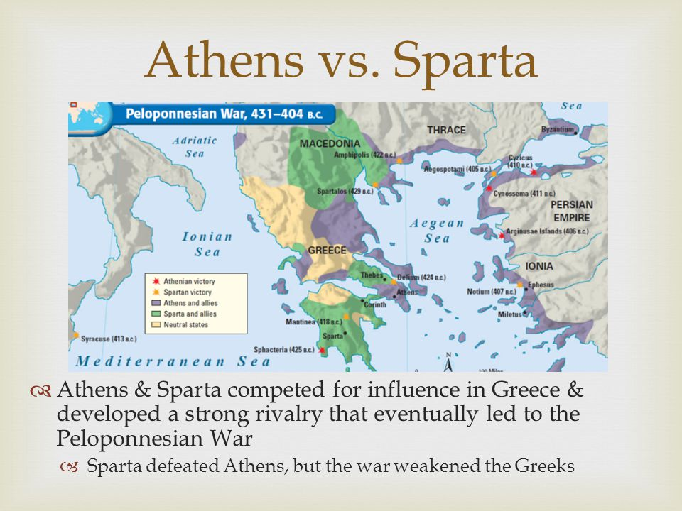 Athens vs. Sparta  Athens & Sparta competed for influence in Greece & developed a strong rivalry that eventually led to the Peloponnesian War  Spart