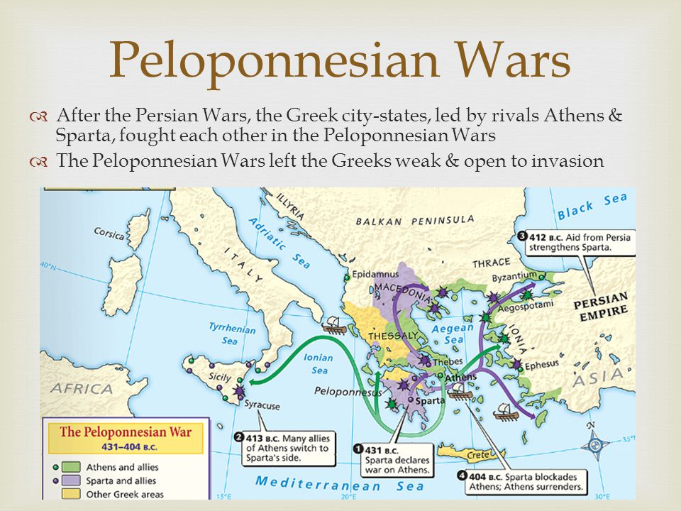 Peloponnesian Wars  After the Persian Wars, the Greek city-states, led by rivals Athens & Sparta, fought each other in the Peloponnesian Wars  The P