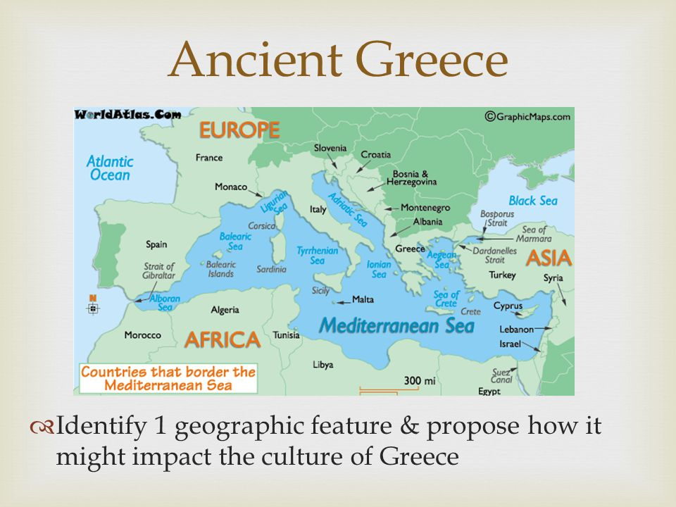  Identify 1 geographic feature & propose how it might impact the culture of Greece