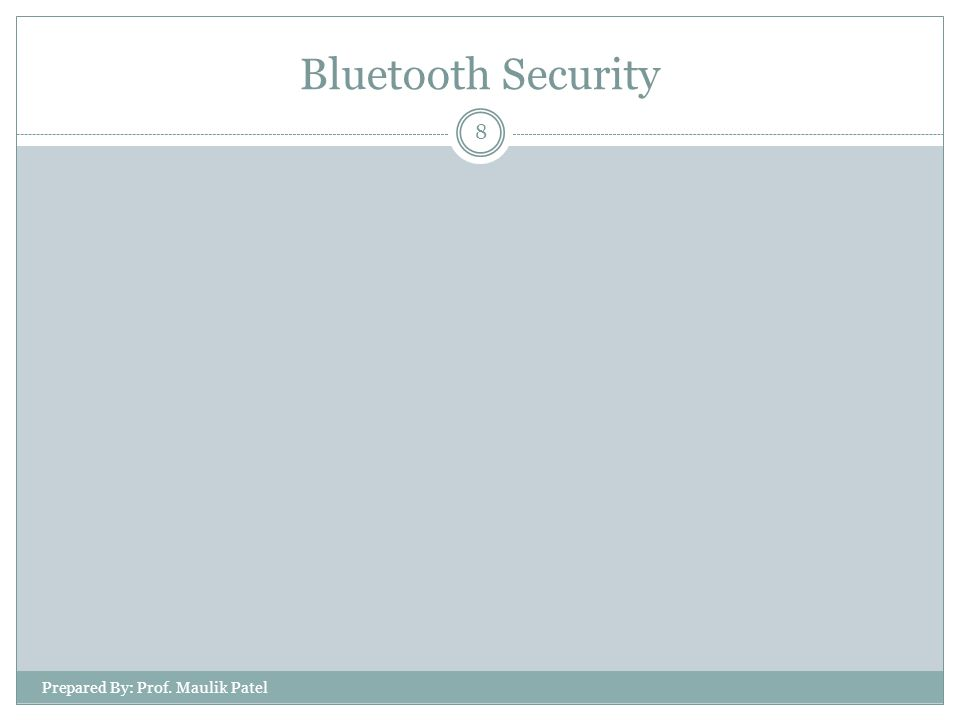 8 Bluetooth Security