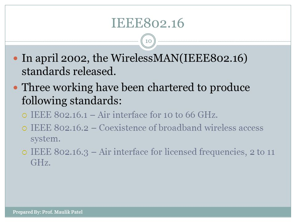 Prepared By: Prof. Maulik Patel 10 In april 2002, the WirelessMAN(IEEE802.16) standards released. Three working have been chartered to produce followi
