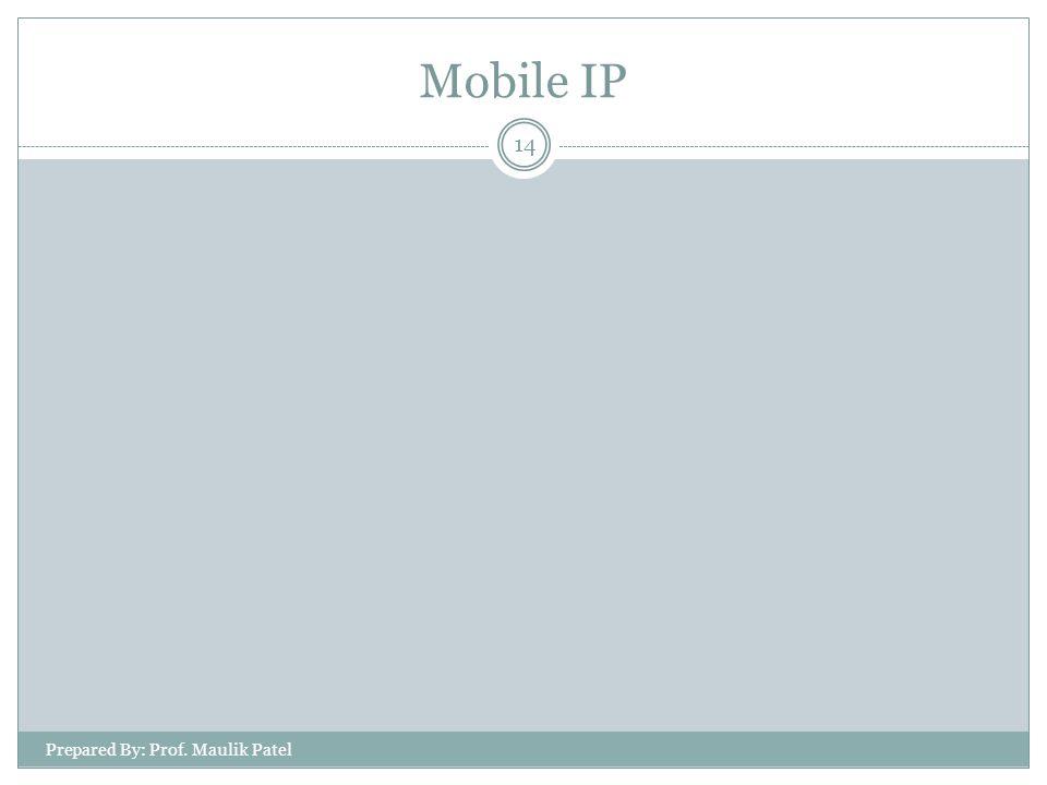 Prepared By: Prof. Maulik Patel 14 Mobile IP