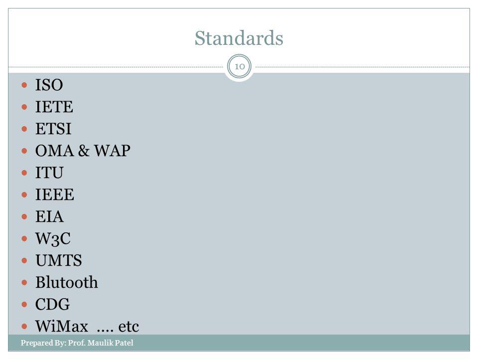 Standards ISO IETE ETSI OMA & WAP ITU IEEE EIA W3C UMTS Blutooth CDG WiMax....