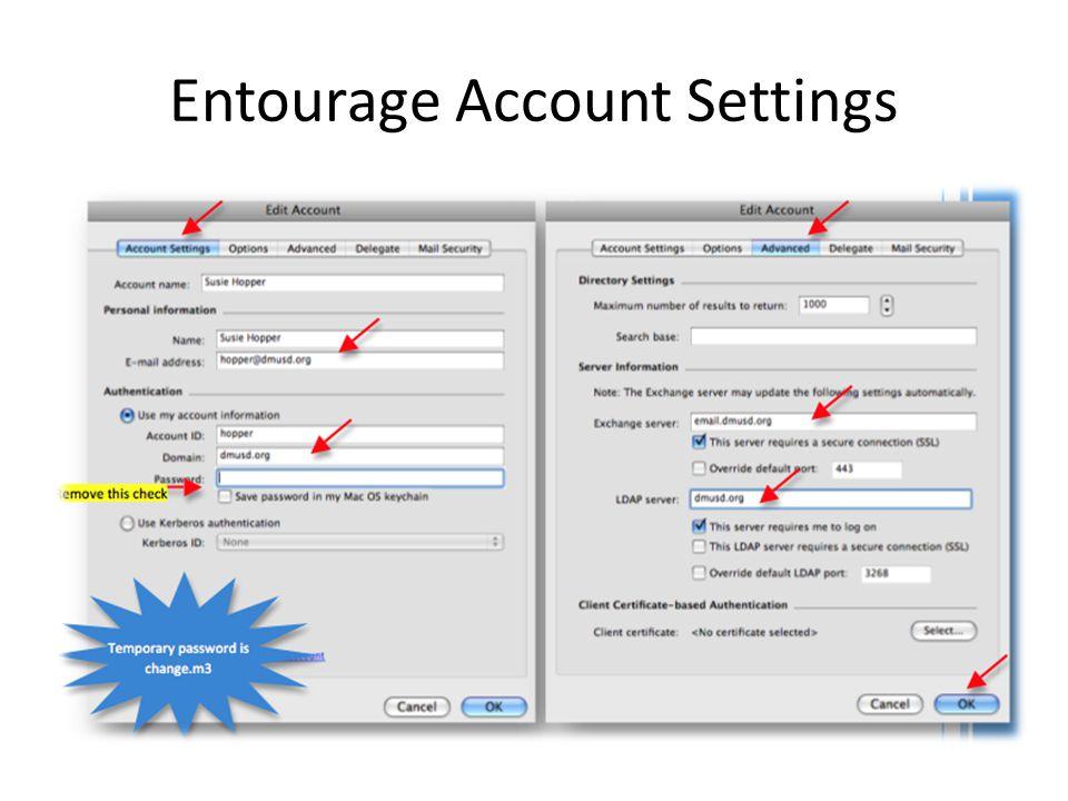 Entourage Account Settings