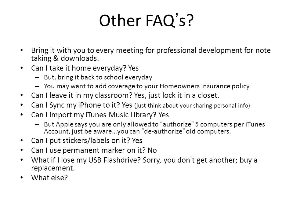 Other FAQ's.