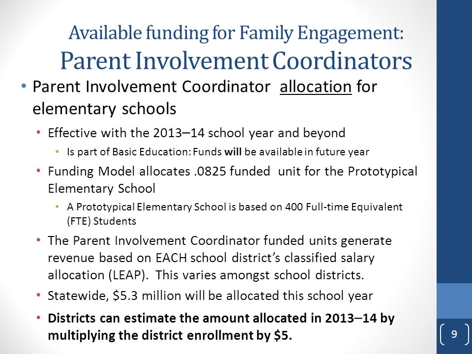 Parent Involvement Coordinator allocation for elementary schools Effective with the 2013 – 14 school year and beyond Is part of Basic Education: Funds will be available in future year Funding Model allocates.0825 funded unit for the Prototypical Elementary School A Prototypical Elementary School is based on 400 Full-time Equivalent (FTE) Students The Parent Involvement Coordinator funded units generate revenue based on EACH school district's classified salary allocation (LEAP).