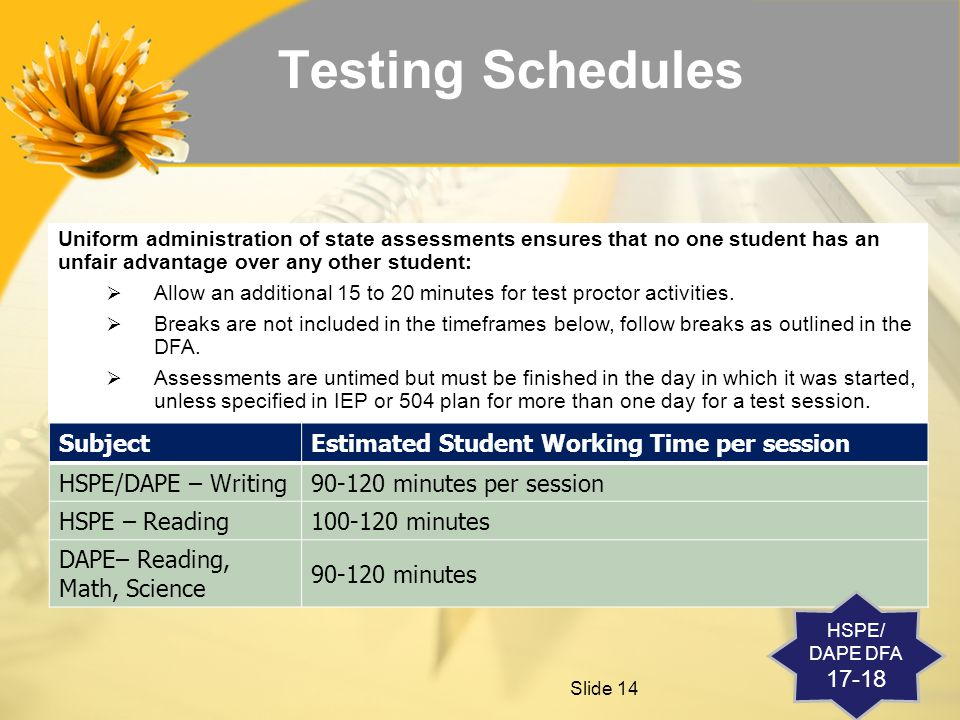 Slide 14 Testing Schedules Uniform administration of state assessments ensures that no one student has an unfair advantage over any other student:  Allow an additional 15 to 20 minutes for test proctor activities.