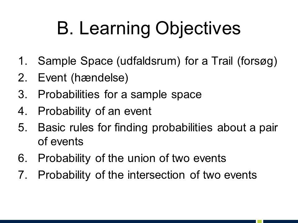 B. Learning Objectives 1.Sample Space (udfaldsrum) for a Trail (forsøg) 2.Event (hændelse) 3.Probabilities for a sample space 4.Probability of an even