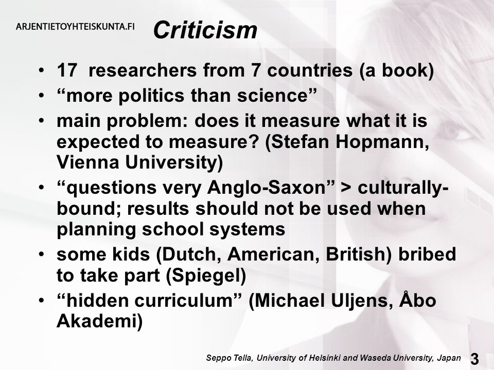 """Criticism 17 researchers from 7 countries (a book) """"more politics than science"""" main problem: does it measure what it is expected to measure? (Stefan"""