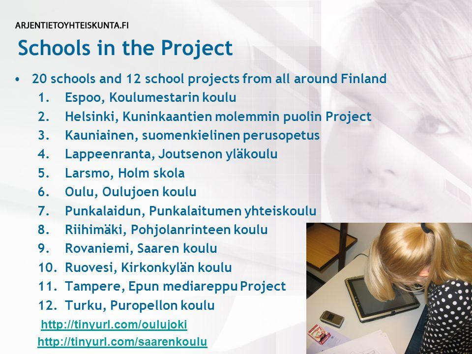 Schools in the Project 20 schools and 12 school projects from all around Finland 1.Espoo, Koulumestarin koulu 2.Helsinki, Kuninkaantien molemmin puolin Project 3.Kauniainen, suomenkielinen perusopetus 4.Lappeenranta, Joutsenon yläkoulu 5.Larsmo, Holm skola 6.Oulu, Oulujoen koulu 7.Punkalaidun, Punkalaitumen yhteiskoulu 8.Riihimäki, Pohjolanrinteen koulu 9.Rovaniemi, Saaren koulu 10.Ruovesi, Kirkonkylän koulu 11.Tampere, Epun mediareppu Project 12.Turku, Puropellon koulu http://tinyurl.com/oulujoki http://tinyurl.com/saarenkoulu