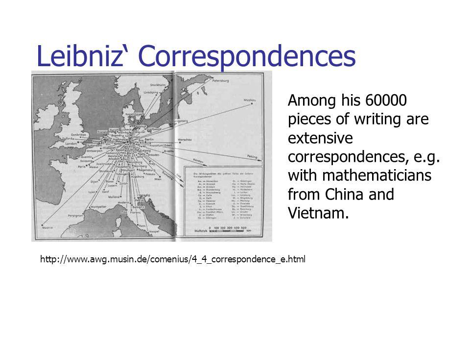Leibniz' Correspondences http://www.awg.musin.de/comenius/4_4_correspondence_e.html Among his 60000 pieces of writing are extensive correspondences, e.g.