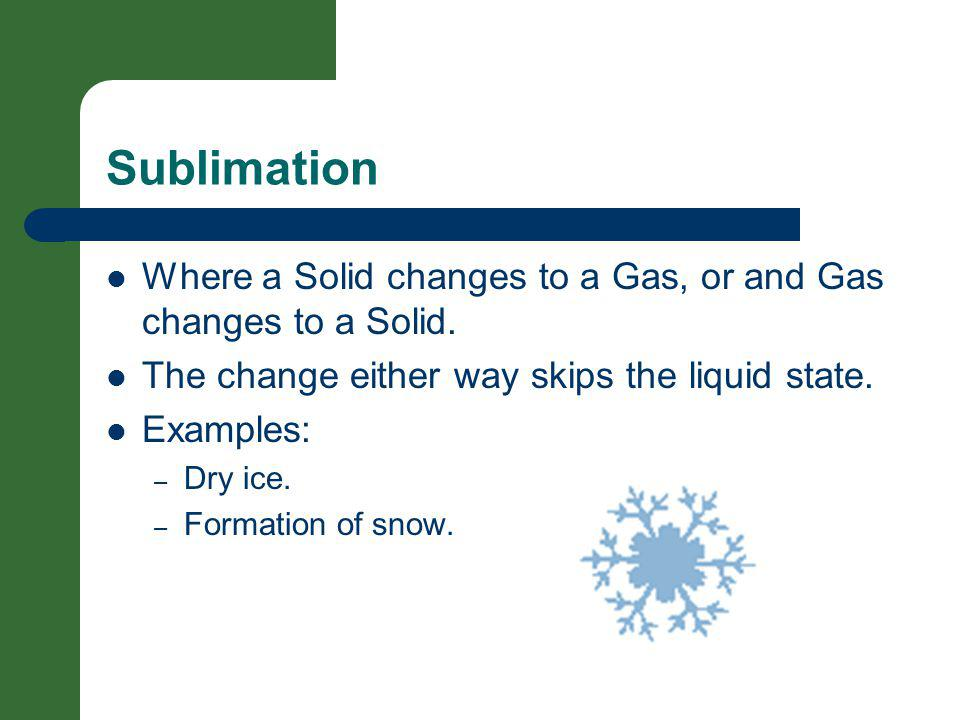 Sublimation Where a Solid changes to a Gas, or and Gas changes to a Solid. The change either way skips the liquid state. Examples: – Dry ice. – Format