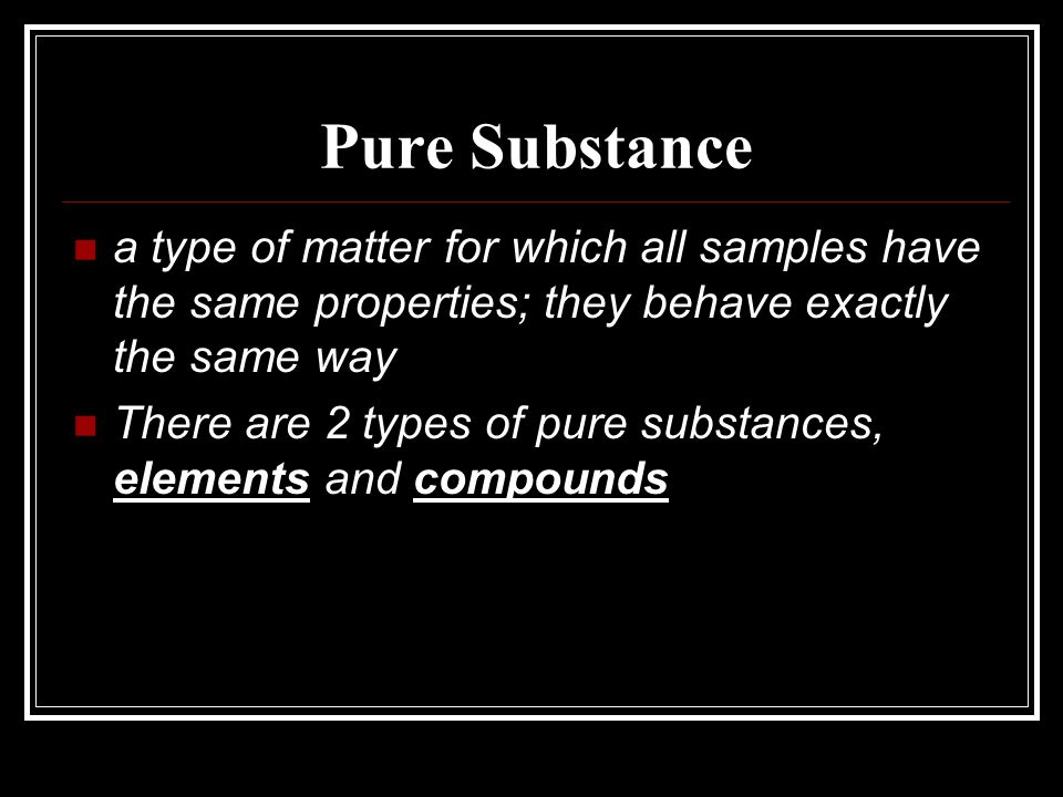 Elements and Compounds Elements: samples of a substance that contain only one type of atom.