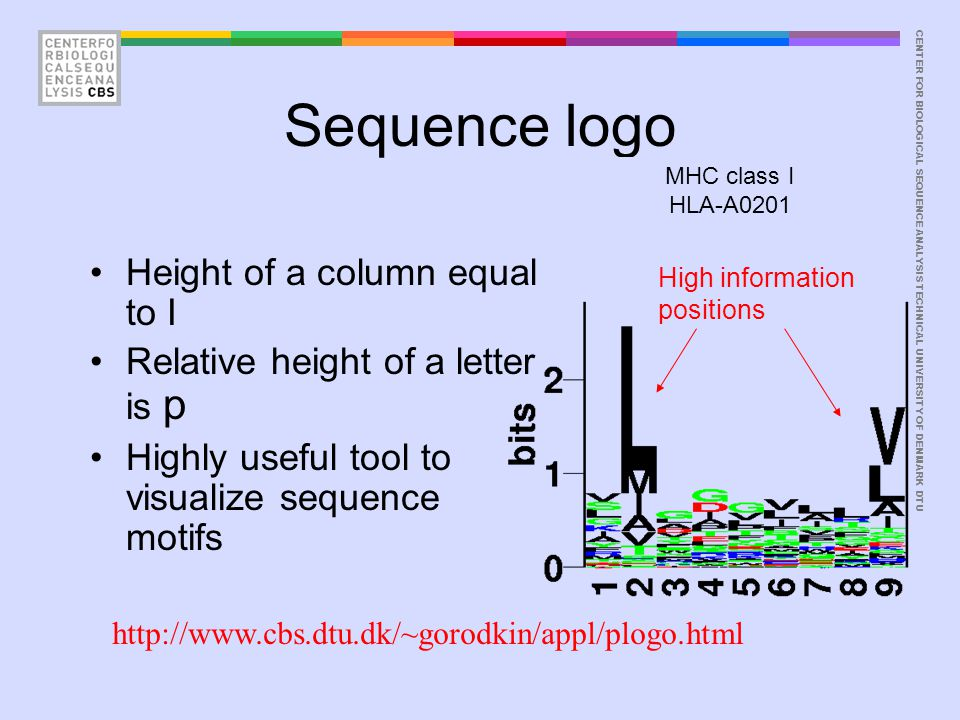 CENTER FOR BIOLOGICAL SEQUENCE ANALYSISTECHNICAL UNIVERSITY OF DENMARK DTU Sequence logo Height of a column equal to I Relative height of a letter is
