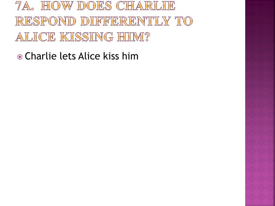  Charlie lets Alice kiss him