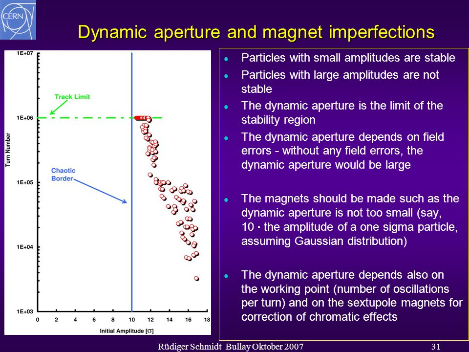 Rüdiger Schmidt Bullay Oktober 200731 Dynamic aperture and magnet imperfections l Particles with small amplitudes are stable l Particles with large am
