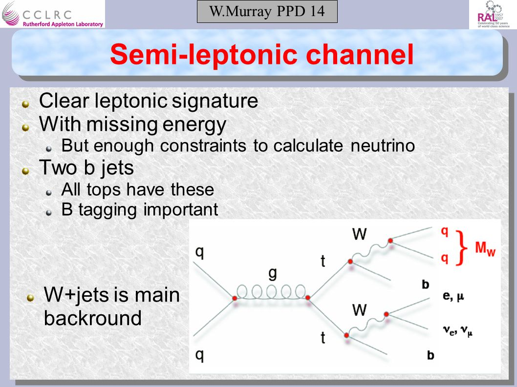 W.Murray PPD 14 Semi-leptonic channel Clear leptonic signature With missing energy But enough constraints to calculate neutrino Two b jets All tops have these B tagging important W+jets is main backround
