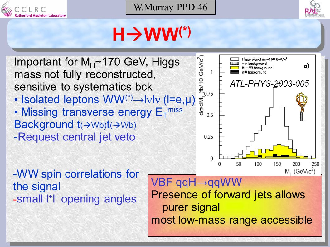 W.Murray PPD 46 H  WW (*) Important for M H ~170 GeV, Higgs mass not fully reconstructed, sensitive to systematics bck Isolated leptons WW (*) →l l (l=e,μ) Missing transverse energy E T miss Background t (  Wb) t (  Wb) -Request central jet veto -WW spin correlations for the signal - small l + l - opening angles VBF qqH→qqWW Presence of forward jets allows purer signal most low-mass range accessible ATL-PHYS