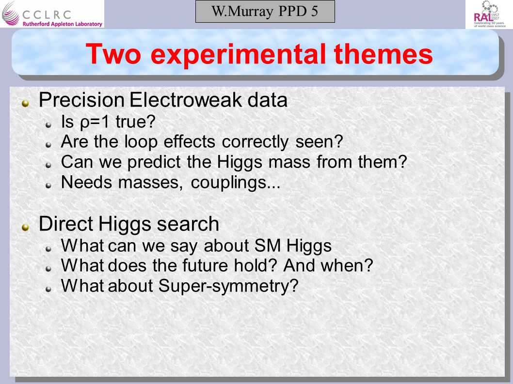W.Murray PPD 5 Two experimental themes Precision Electroweak data Is ρ=1 true.