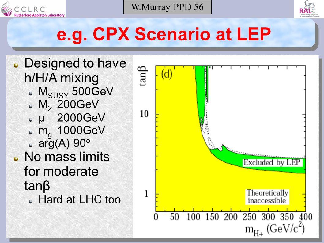 W.Murray PPD 56 e.g. CPX Scenario at LEP Designed to have h/H/A mixing M SUSY 500GeV M 2 200GeV μ2000GeV m g 1000GeV arg(A) 90 o No mass limits for mo