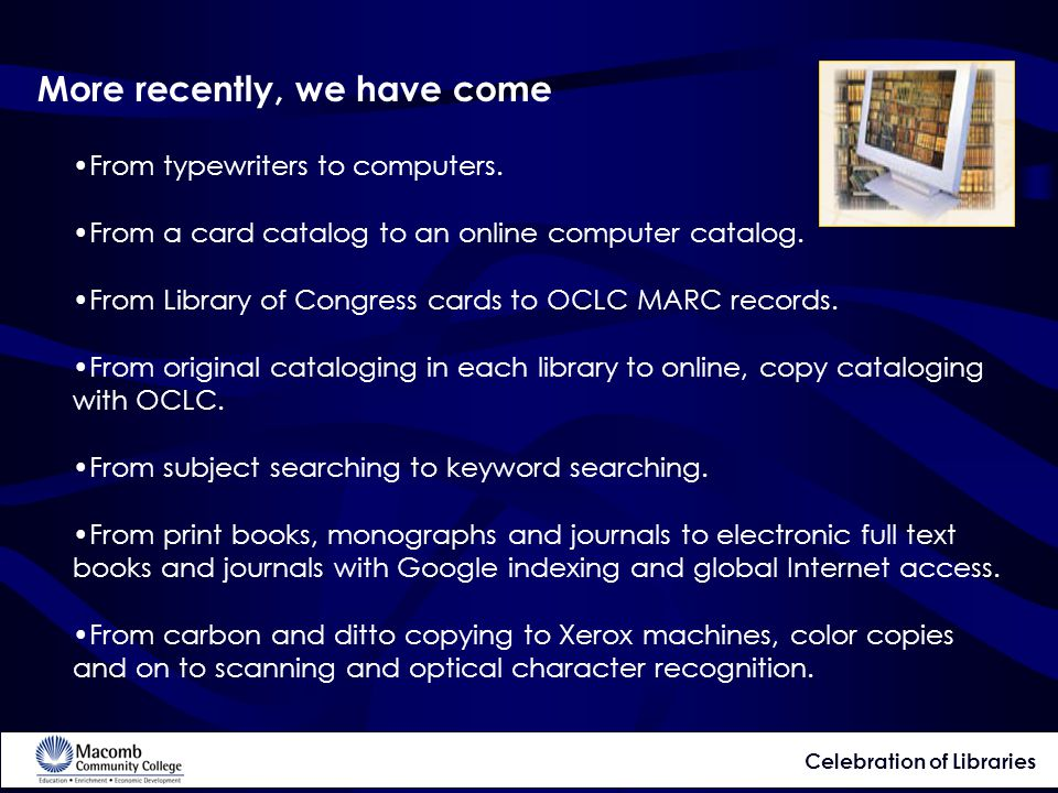 More recently, we have come From typewriters to computers.