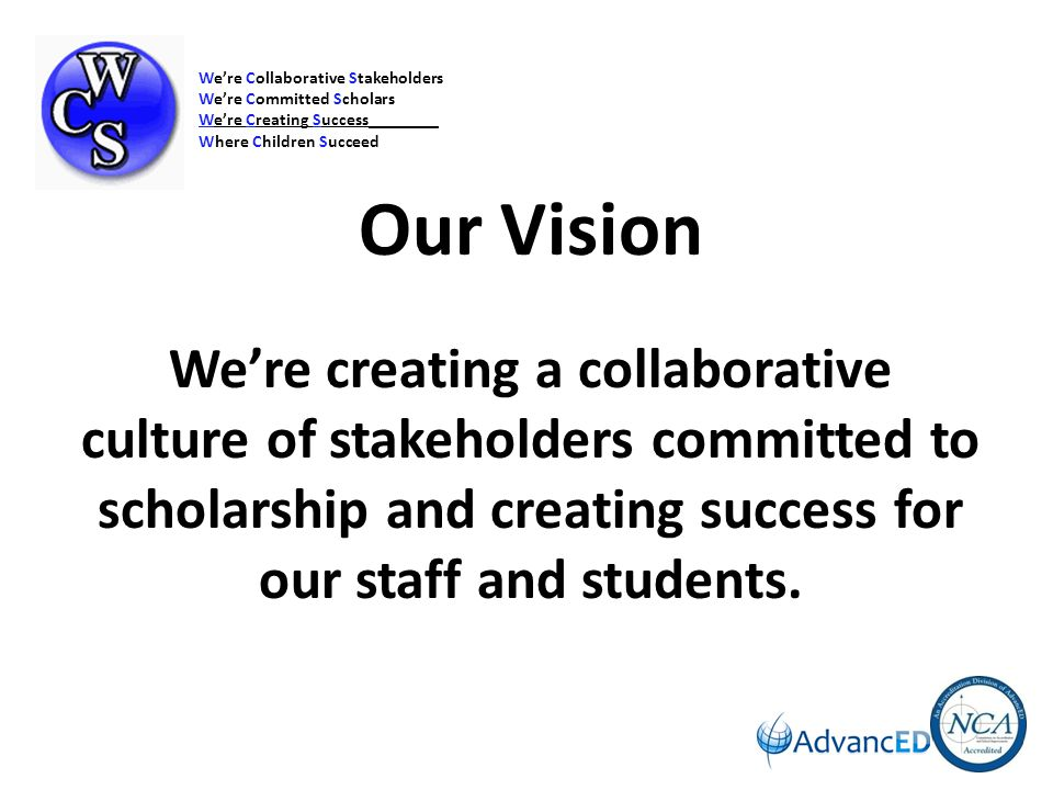 Commitment to Continuous Improvement Vision: We're Collaborative Stakeholders We're Committed Scholars We're Creating Success_________ Where Children Succeed Current Reality: Data Analysis Develop/Implement Plan Monitor/Evaluate Plan Vision and Purpose District/School Mission and Vision via actions, newsletters, webpage Reaffirmed at all Board of Education Meetings Reaffirmed on a yearly basis at all schools Curriculum and Prof Dev support Mission and Vision Instructional and Non-instructional programs Resource Allocation process supports Mission and Vision District Commitment to PLC, SIP, RTI, Blue Ribbon Initiatives Superintendent -Stakeholder Focus Groups Governance and Leadership Board of Education Full time Superintendent and Cabinet Full time Principals/Assistants Full time Department Administrators Compliance with Federal/State Laws Board Policies/Guidelines (online) Shared Decision-making among stakeholders System Leadership Opportunities: PLC, SIP, CSC, PSD, Curriculum Teams, Child Study Teams, HAB, WCS Health Council, WCS PTO Leadership, District-SIP Team, Union leadership Teaching and Learning Documenting and Using Results Communication with Stakeholders and Relationships Resources and Support Systems Full time departments Student Data Management System: Electronic Textbook/Library Inventory and Ordering System K-12 Counselors.