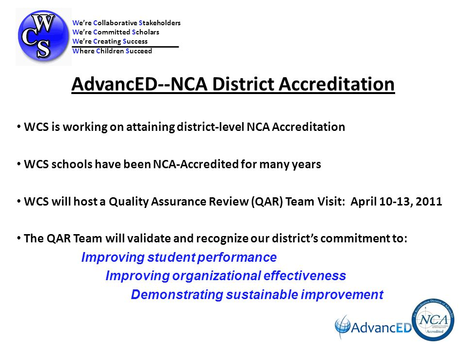 Documenting and Using Results The district enacts a comprehensive assessment system that monitors and documents performance and uses these results to improve student performance and school effectiveness.