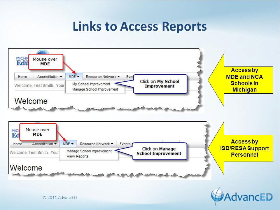 © 2011 AdvancED Links to Access Reports Access by MDE and NCA Schools in Michigan Access by ISD/RESA Support Personnel