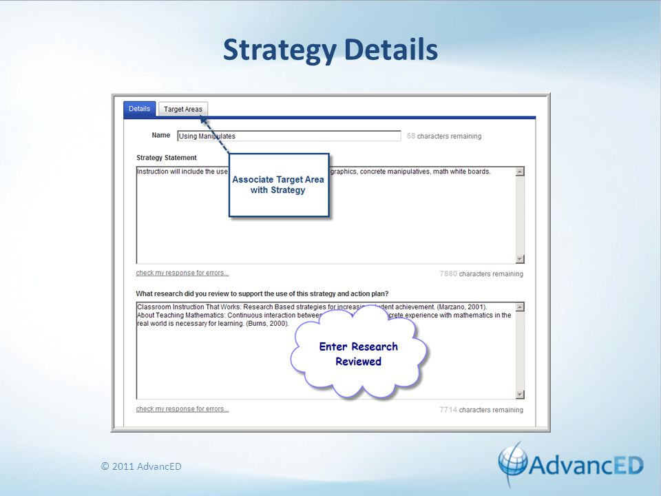 © 2011 AdvancED Strategy Details