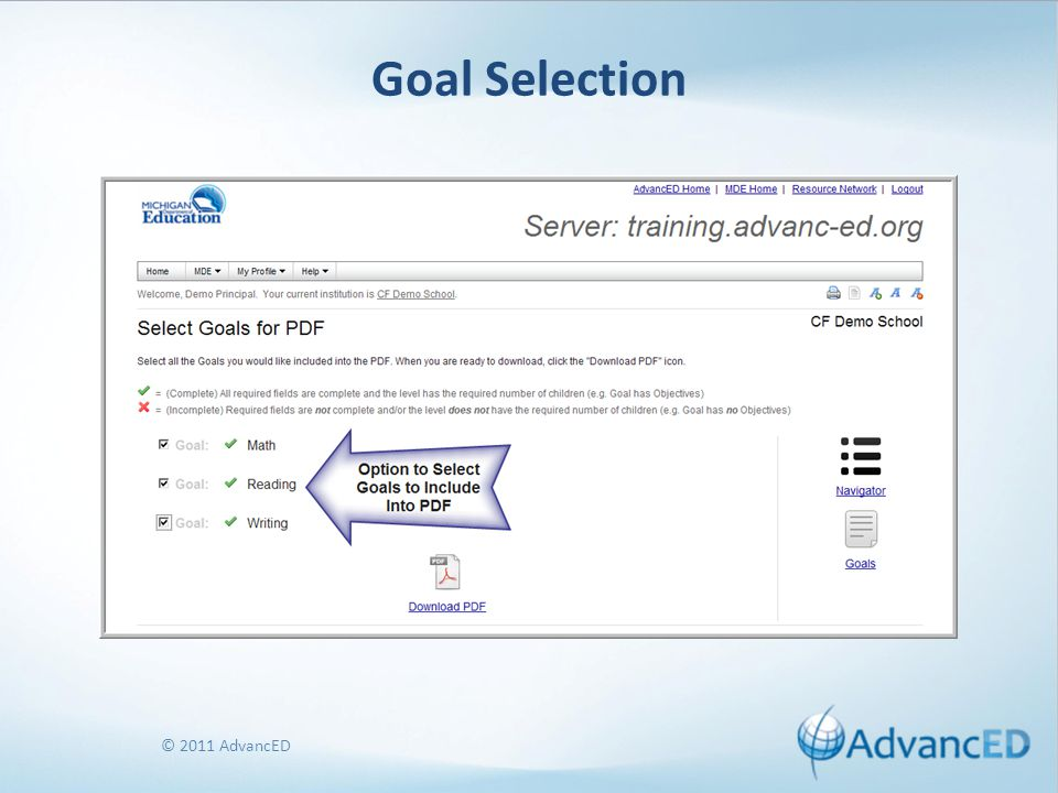© 2011 AdvancED Goal Selection