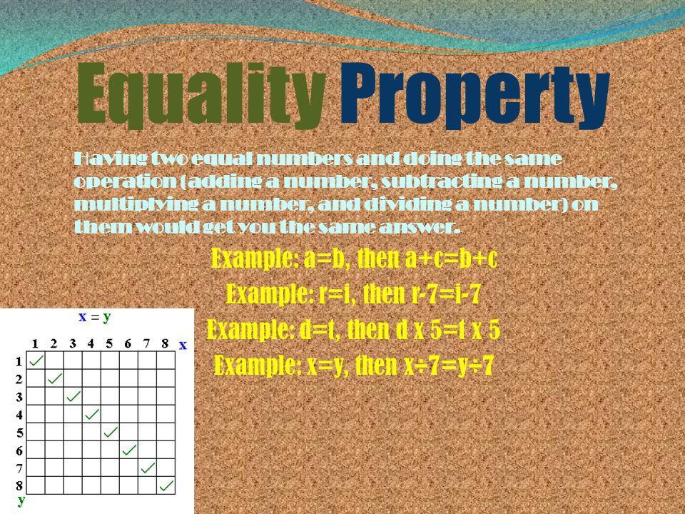 Equality Property Having two equal numbers and doing the same operation (adding a number, subtracting a number, multiplying a number, and dividing a n