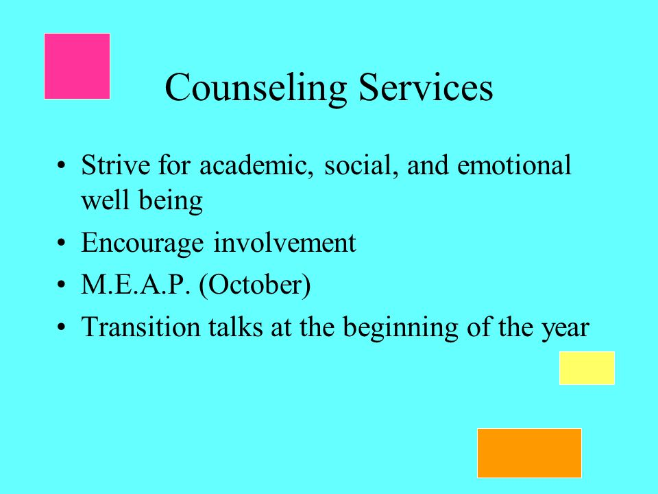 Counseling Services Strive for academic, social, and emotional well being Encourage involvement M.E.A.P.