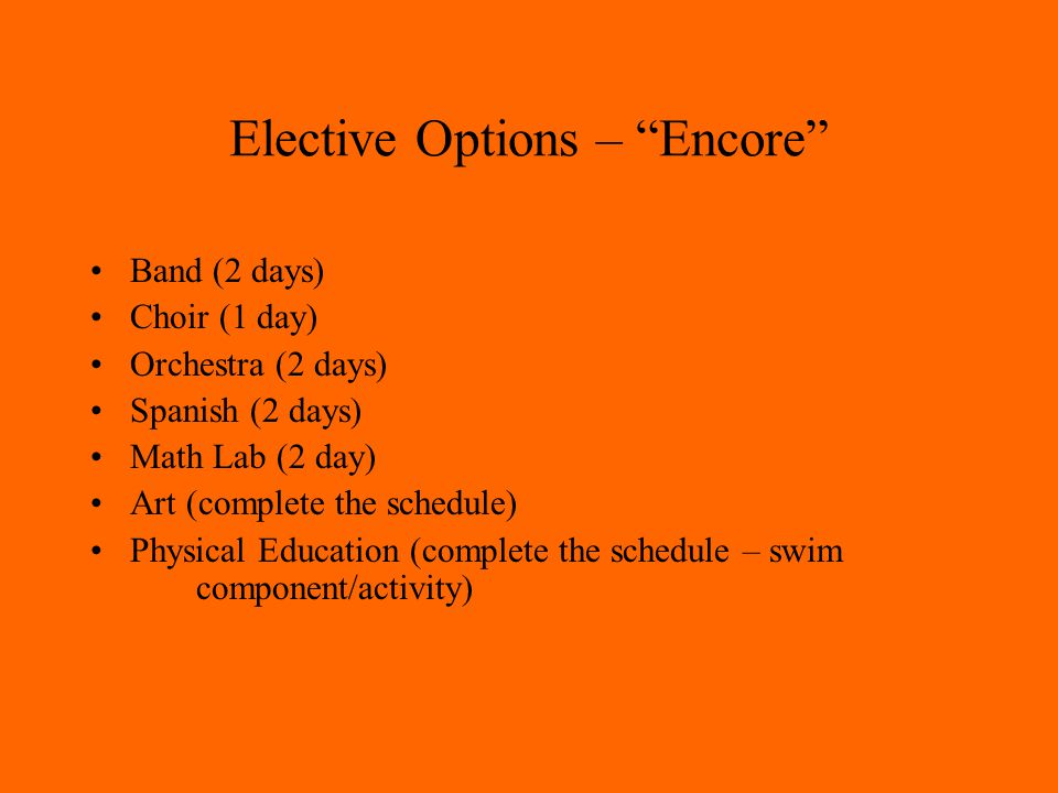 Elective Options – Encore Band (2 days) Choir (1 day) Orchestra (2 days) Spanish (2 days) Math Lab (2 day) Art (complete the schedule) Physical Education (complete the schedule – swim component/activity)