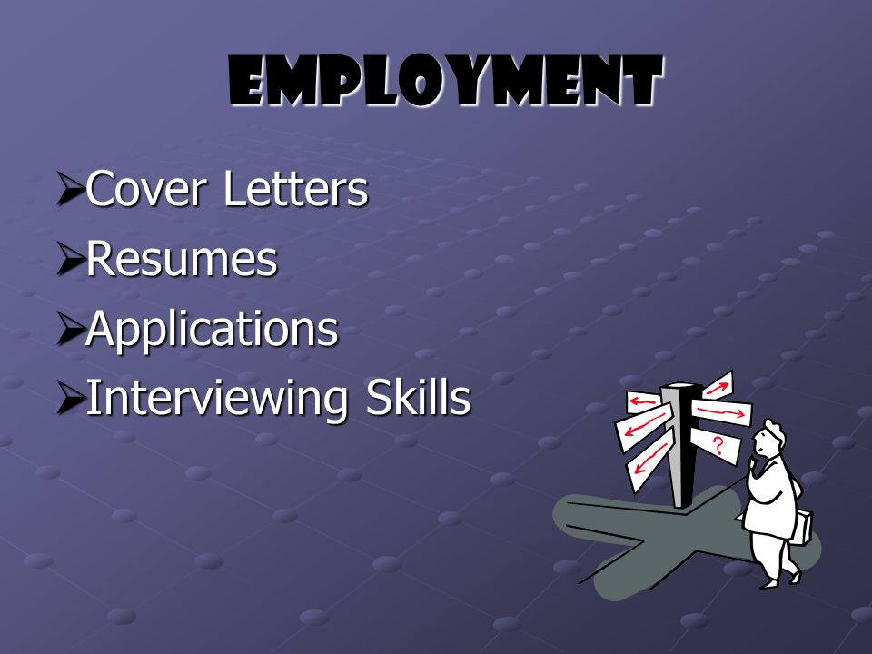 Employment Employment  Cover Letters  Resumes  Applications  Interviewing Skills