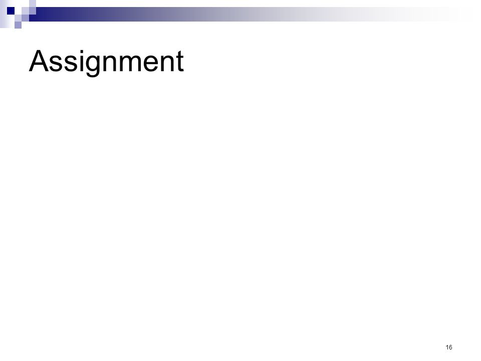 16 Assignment