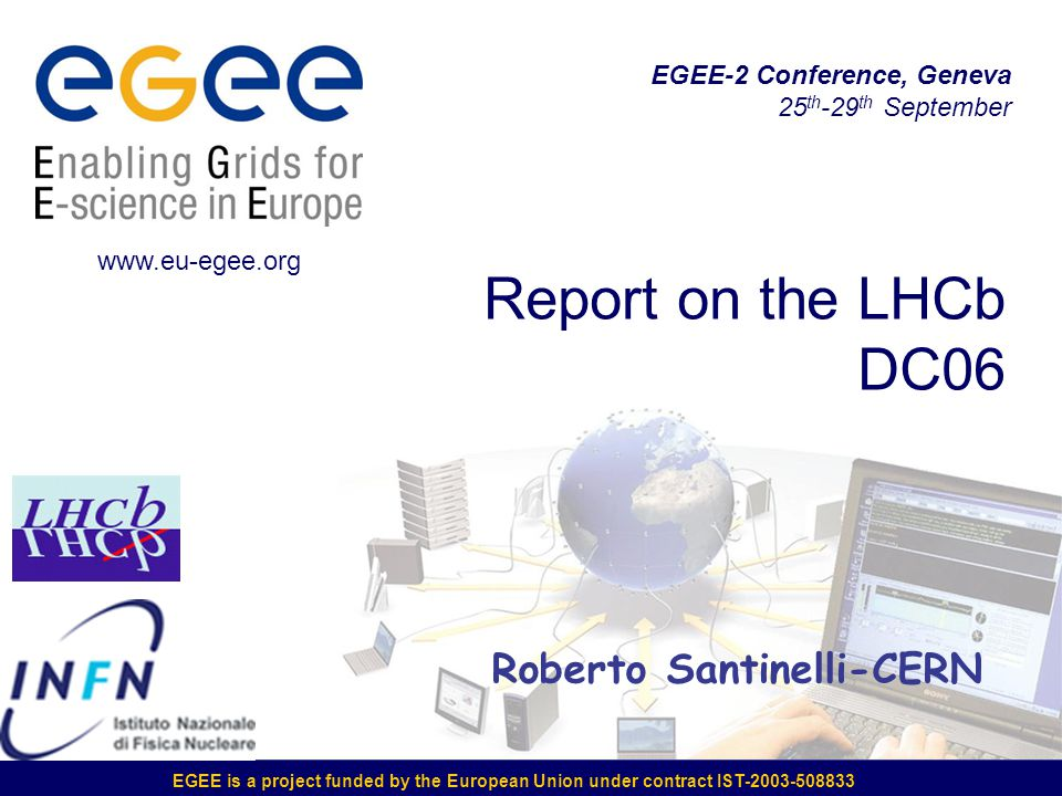 EGEE is a project funded by the European Union under contract IST-2003-508833 Report on the LHCb DC06 www.eu-egee.org EGEE-2 Conference, Geneva 25 th