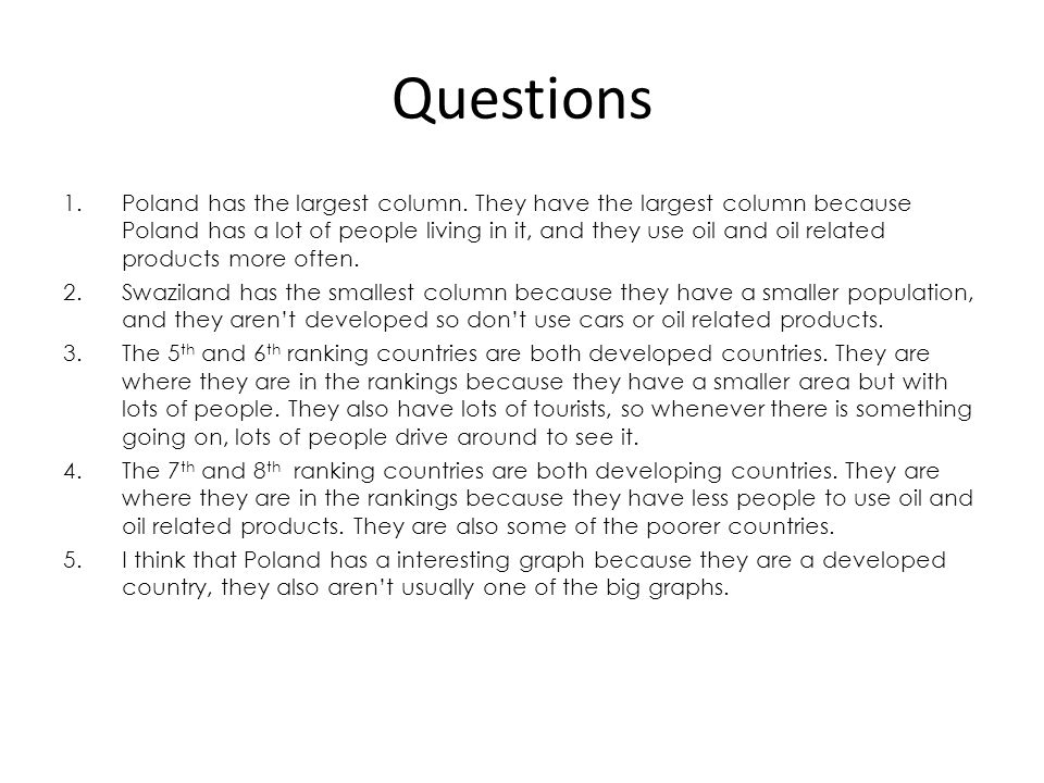 Questions 1.Poland has the largest column.