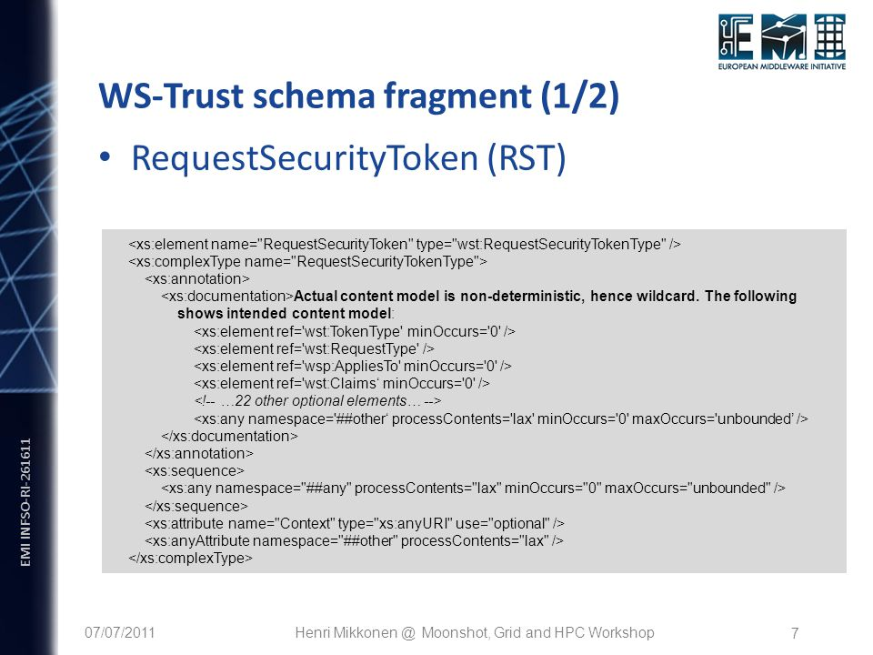 EMI INFSO-RI WS-Trust schema fragment (1/2) Actual content model is non-deterministic, hence wildcard.