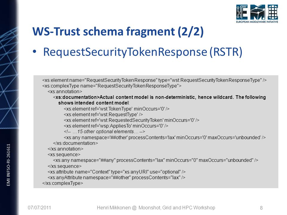 EMI INFSO-RI WS-Trust schema fragment (2/2) Actual content model is non-deterministic, hence wildcard.