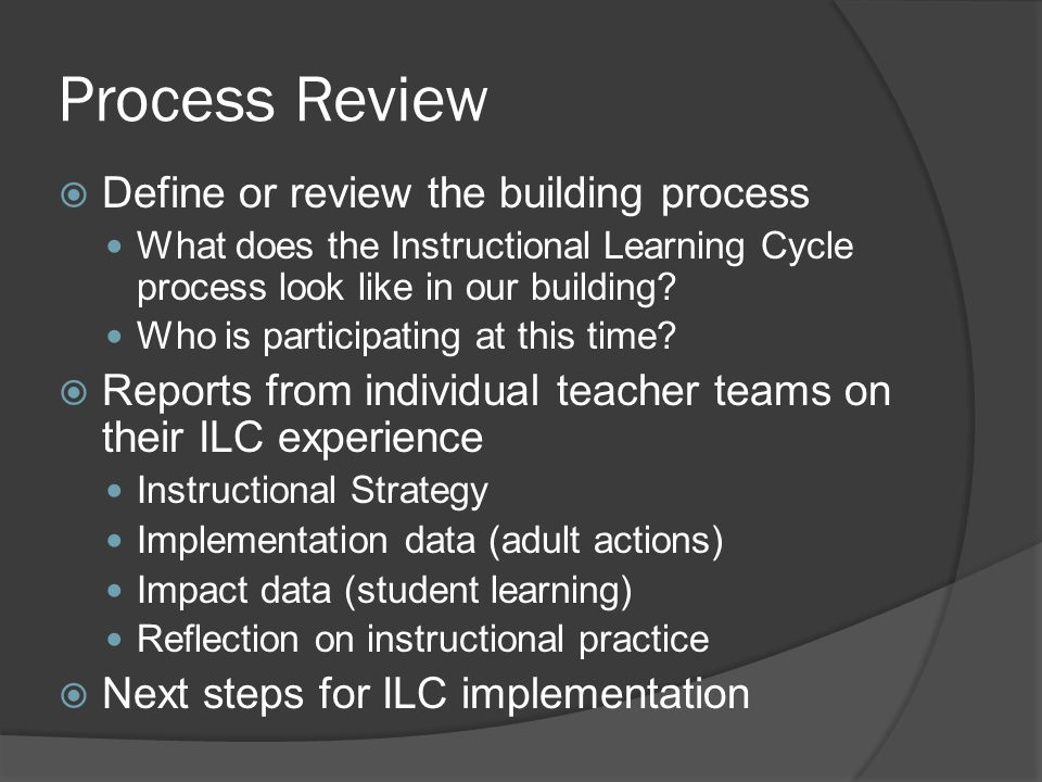 Process Review  Define or review the building process What does the Instructional Learning Cycle process look like in our building? Who is participat
