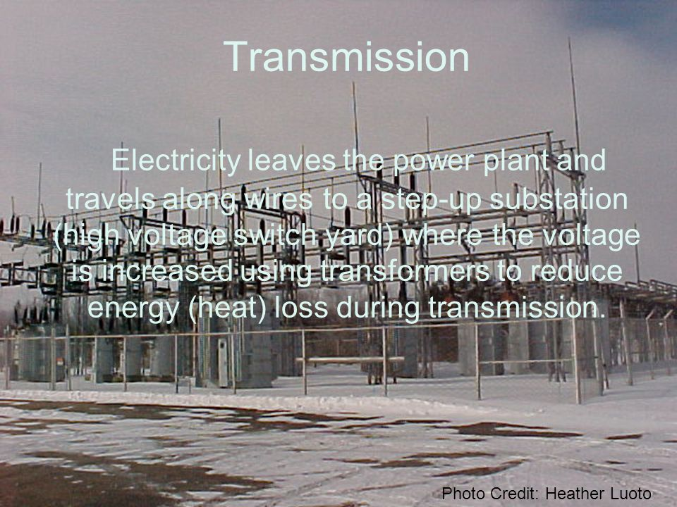 The electricity leaves the substation and enters the network of high voltage transmission lines called the electric power grid.