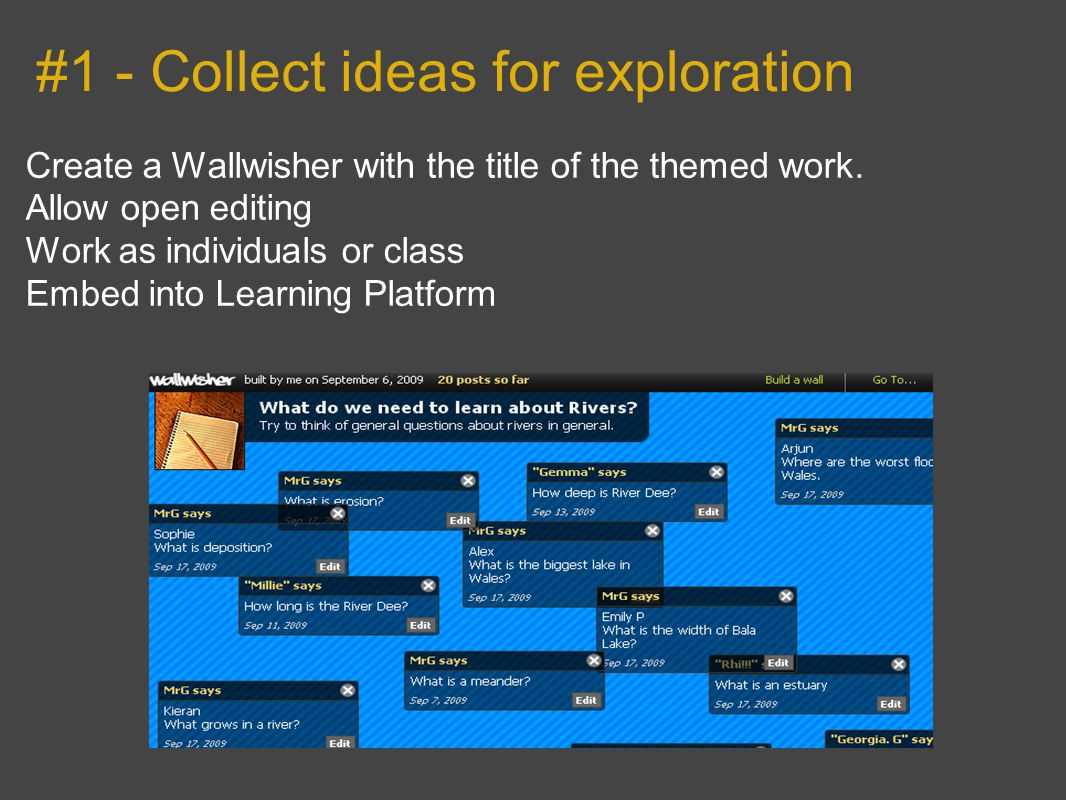 #1 - Collect ideas for exploration Create a Wallwisher with the title of the themed work.