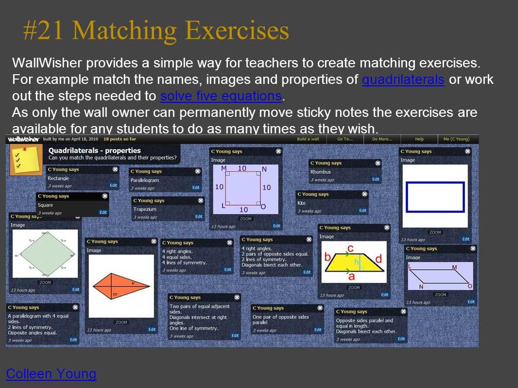 #21 Matching Exercises WallWisher provides a simple way for teachers to create matching exercises.